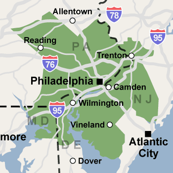 Our Pennsylvania, New Jersey, and Delaware service area map, showing our services in Philadelphia and nearby